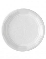100 Assiettes plates en plastique blanc 20 cm