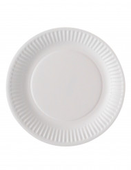 100 assiettes en carton blanc biodegradable 18 cm