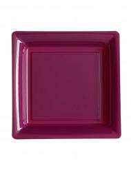 12 Petites assiettes carrées en plastique aubergine 18 cm