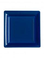 12 Petites assiettes carrées en plastique bleu marine 18 cm