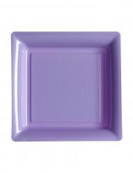 12 Petites assiettes carrées en plastique lilas 18 cm