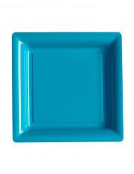 12 Petites assiettes carrées en plastique bleu turquoise 18 cm