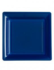 12 Assiettes carrées en plastique bleu marine 23.5 cm