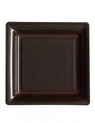 12 Assiettes carrées en plastique chocolat 23,5 m