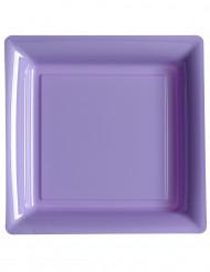 12 Assiettes carrées en plastique lilas 23,5 cm