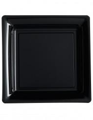 12 Assiettes carrées en plastique noir 23,5 cm