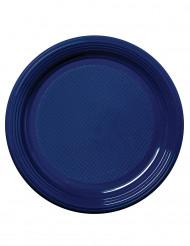 50 Assiettes à dessert en plastique bleu marine 17 cm