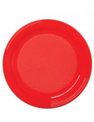 50 Petites assiettes en plastique rouge 17 cm