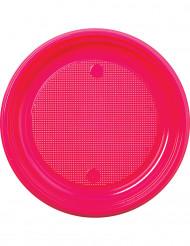 30 assiettes en plastique fuchsia 22 cm