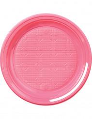 30 assiettes en plastique rose pastel 22 cm