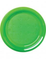 30 Assiettes en plastique vert 22 cm