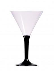 6 Verres à pied noir cocktail 14 cm