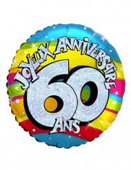 Ballon aluminium holographique 60 ans 46 cm