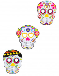 3 Masques en cartons assortis Dia de los muertos adulte Halloween