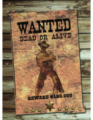 Affiche en carton Wanted 30 x 40 cm