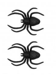 2 Araignées de décoration à paillettes 13 x 9 cm Halloween