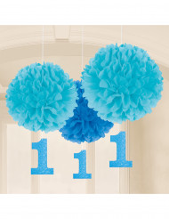 3 Pompons bleus 1 an bleu 40 cm