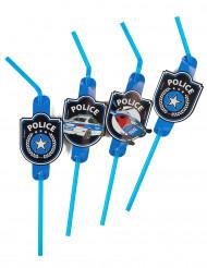 8 Pailles flexibles Police