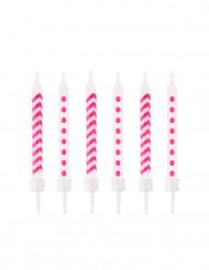 10 Bougies d'anniversaire fuchsia