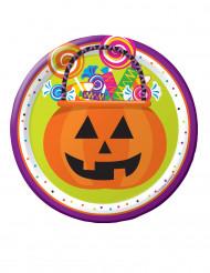 8 Petites assiettes en carton Trick or Treat Halloween 18 cm