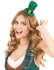 Mini chapeau haut de forme à sequins St Patrick adulte