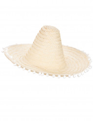 Sombrero écru à bordure pompons adulte