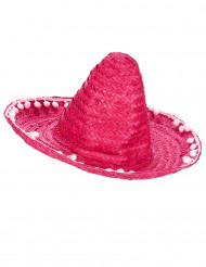 Sombrero rose à bordure pompons adulte