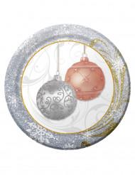 8 Petites assiettes Paillettes de Noël 18 cm