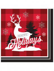 16 Serviettes en papier Renne de Noël 33 x 33 cm