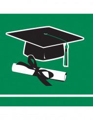 36 Petites serviettes vertes Congrats Grad