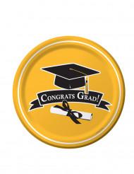 18 Assiettes en carton Congrats Grad jaune 23 cm