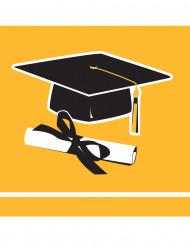 36 Petites serviettes en papier Congrats Grad jaunes 25 x 25 cm