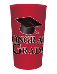 Gobelet en plastique rouge Congrats Grad 65 cl