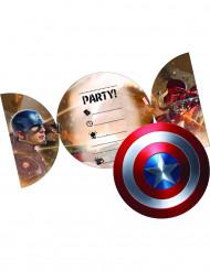 6 Cartes d'invitation + enveloppes Captain America Civil War™