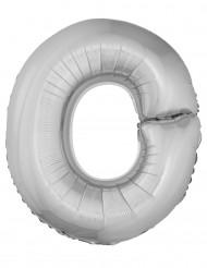 Ballon aluminium géant lettre O argenté 1m