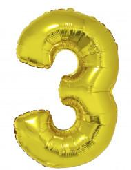 Ballon aluminium géant chiffre 3 doré 1m