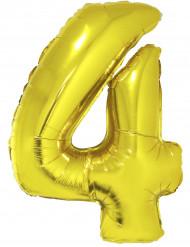 Ballon aluminium géant chiffre 4 doré 1m