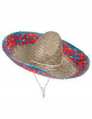 Sombrero Mexicain bordure rouge et bleu adulte
