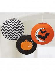 3 Lanternes  à motifs Halloween 24 cm