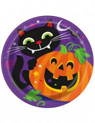 8 Assiettes en carton Citrouille et compagnie Halloween 23 cm