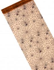 Chemin de table organza toile d'araignée halloween