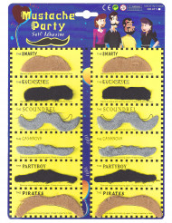 Lot de 12 moustaches adulte