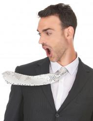 Cravate blanche à sequins adulte