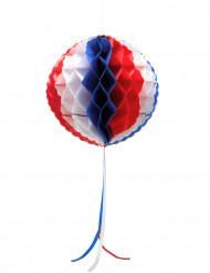 Suspension boule alvéolée tricolore 27 cm