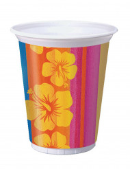 8 Grands gobelets en plastique Hawaï - 473 ml