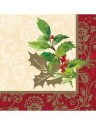 16 serviettes en papier Houx de Noël 33 X 33 cm
