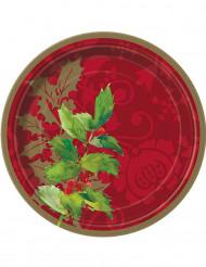 8 petites assiettes Houx de Noël 18 cm