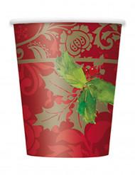 8 gobelets en carton Houx de Noël 25 cl
