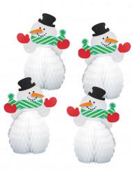 4 Mini centres de table Bonhomme de neige 15 cm