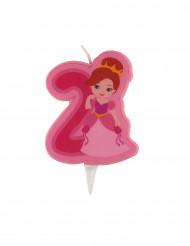 Bougie d'anniversaire princesse chiffre 2